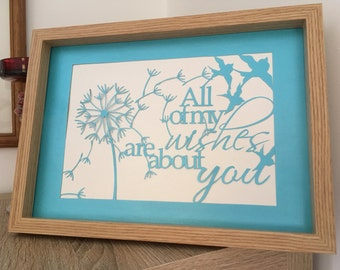 Valentine's gifts, gifts for lovers, anniversary gift, papercut, hand cut wall art, framed, dandelions, gift