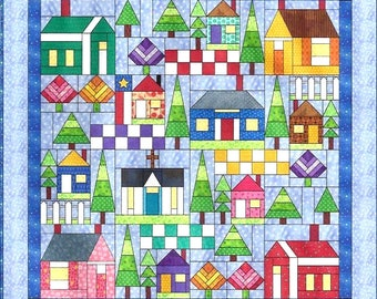 ALL AROUND the NEIGHBORHOOD Block Patterns - Build your own Fabric Community w/ houses, churches, trees, and more - Electronically Delivered
