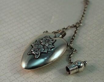 Victorian Sterling Repousse Perfume Bottle Pendant
