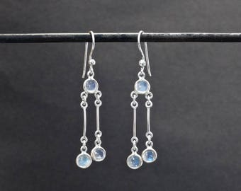 Rainbow Moonstone Earrings, Moonstone and Silver,