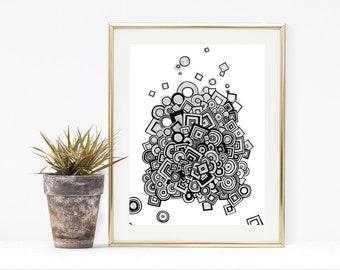 Geometric Wall Art - 9x12 Print - Black and White Art - Giclee Print - Contemporary Art - Minimalist Art Print