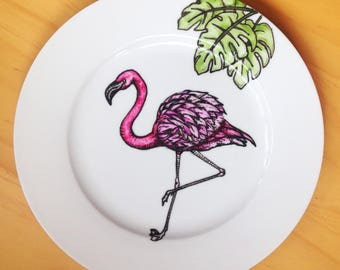 Flamingo and palm leaves hand painted plate