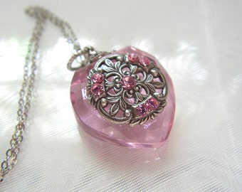 Perfume Bottle Necklace Inspired Pink Crystal  Heart Perfume Bottle Necklace