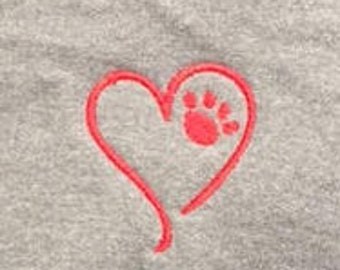 Dog Paw Heart Zip Up Hoodie