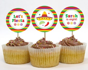 Personalized Fiesta Party Cupcake Toppers – 2 Inch Circles – DIY Printable (Digital File)
