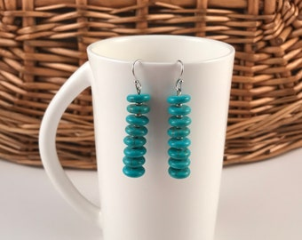 Sterling silver hook earrings,Turquoise, gift for her, free shipping