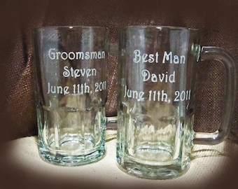 Custom Etched Personalized Wedding Party Beer Mugs - Personalized Beer Mugs - Groomsman Gift - Father of the Bride Gift - Etched Beer Mugs