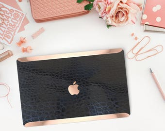 Macbook Pro 13 Case Macbook Air Case Laptop Case Macbook Case . Black Mica Alligator Leather  Case and Rose Gold- Platinum Edition