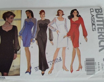 Vintage Butterick Classics sewing pattern 6402 Misses'/Misses' Petite dress in sizes 6, 8, 10, 12