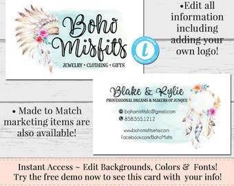 Headdress Business Card, Dream Catcher Business Card, Business Card Template, DIY Business Card, Instant Download Card, Editable Card