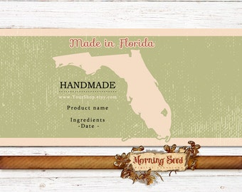 Soap label printable 2 x 11, Made in Florida, Rustic candle packaging, Soap bands, MS Word template
