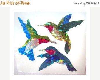 SALE Hummingbird Vintage Hambly Glitter Stickers 80's - 2 Squares - Retro Collectable Scrapbook Bird Collage