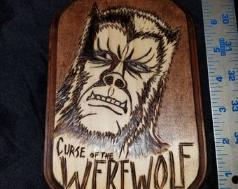 Curse of the Werewolf wood plaque