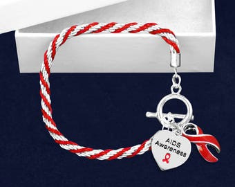 12 AIDS Red Ribbon Rope Bracelets (12 Bracelets) (B-02-6AI)