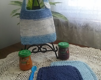 Little Boy Blue Hand Knit Baby Bib and Washcloth Set