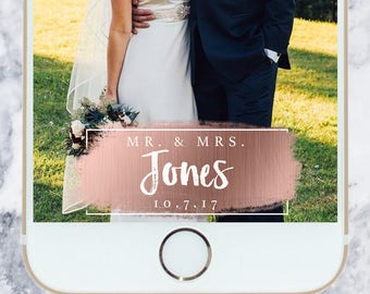 Wedding Snapchat Filter - Rose Gold | Minimal | Geofilter | Custom | Personalized
