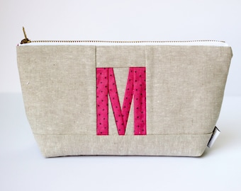 Personalized Zipper Pouch, Monogram Pouch, Initial Bag, Personalized Makeup Bag, Initial Makeup Pouch Monogram Gift for Women Custom Initial