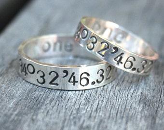 Latitude and Longitude Ring Set - Personalized Sterling Silver Ring Set -  Custom Coordinates GPS - Couples Ring Set - Wedding Ring Set