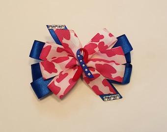 Patriotic Hair Bow - Headband option available