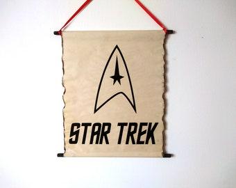 Star Trek Logo Poster, The Starfleet Logo Scroll Handcrafted by Land of Scrolls, United Federation of Planets Logo, The Starfleet Emblem
