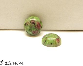 2 PCs cabochons, Ruby in Fuchsite stone, Ø 12 mm
