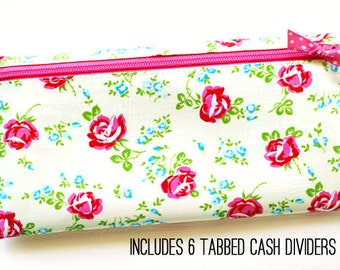 Cash envelope system budget wallet with 6 tabbed dividers | laminated cotton in pink roses, aqua, green on ivory