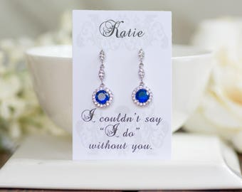 Sapphire Earrings | Bridesmaid Gifts | Bridesmaid Jewelry | Bridal Earrings | Sapphire Earrings | Birthstone Jewelry | Navy Blue Wedding