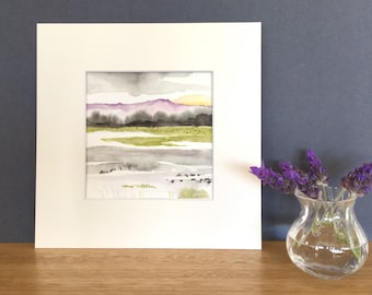 watercolour painting, small art, watercolour landscape, abstract art, River, small gift
