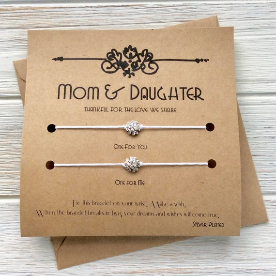 Mom Birthday Gift Mothers Day Card From Daughter Son Wish Bracelet