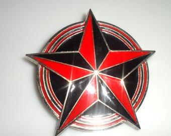 41017sn01 --- Collectible #rd STAR BELT BUCKLE Red Black Enamel Vintage Belt Buckle Stamped Highway Star