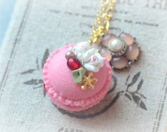 Rose macaroon necklace, french macaron jewelry, handmade lolita accessories, fake cake pastry, flower pendant, Valentine's gift under 20