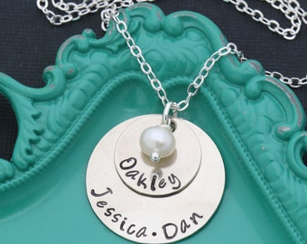 Mom Pearl Necklace • Kids Name Necklace Handstamped Name New Mom Gift Elegant Mother Gift • Silver Layered Discs Name Custom Gift
