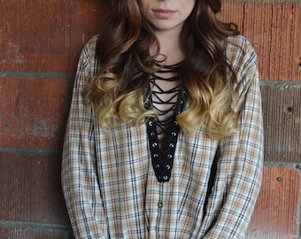 Florence Way tan vintage lace-up flannel