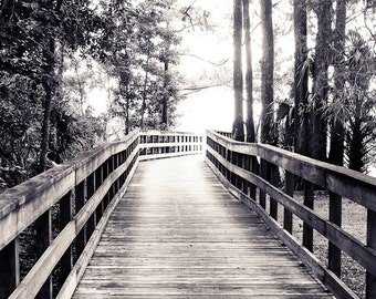 Boardwalk in the Park Black & White Fine Art Print - Travel, Scenic, Landscape, Nature, Home Decor, Zen
