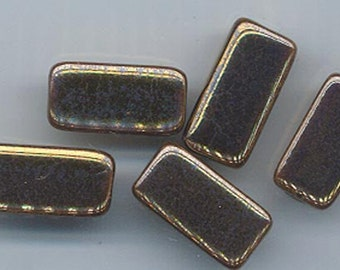 Thirteen gorgeous Greek ceramic beads - metallic bronze finish - tubes with triangular cross section - 19 x 9 mm