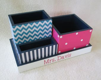Personalized Desk Organizer - Office or Home Organizer - Pencil Holder Set - Wooden Organizer, Turquoise, Navy Blue, Hot Pink - Gift