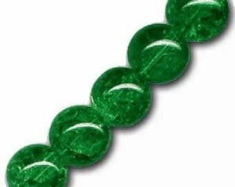 10 x 6 mm dark green Crackle Glass round beads