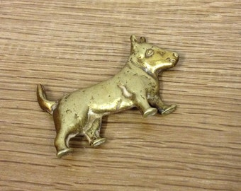 Vintage Brass Terrier Dog Flat Back Ornament / Paperweight.