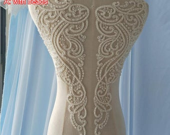 3pcs 38x37x10cm wide ivory dress front back embroidery dress appliques patches F24T40L0130R free ship