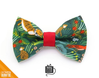"""Tropical Cat Bow Tie - """"Jungle Green"""" - Rifle Paper Co® Cat Collar Bowtie / Kitten Bow Tie / Spring / Hawaiian - Removable (One Size)"""