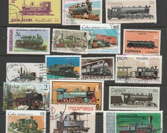 Thematic steam trains used postage stamps off paper, for collectors or craftsfolk for use in collage, decoupage and many other uses