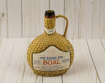 Vintage Fine Madeira Wine Wicker Liquour Bottle Home Decor