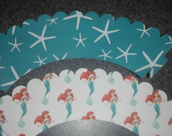 Ariel Cupcake Wrapper  Little Mermaid  Set of 12