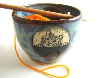 Yarn Bowl Tabby Cat Kitten for Knitting, Denim Blue Sgraffito Stoneware Pottery