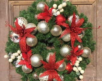 Front Door Wreath, Christmas Wreath, Champagne Gold and Red Flower Christmas Wreath