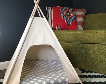 """Small Dog/Cat Teepee Pet Tent -24"""" base Natural Canvas-PICK YOUR PILLOW- Ready to Make or Custom Order it - Tenthouse Suite by Vintage Kandy"""