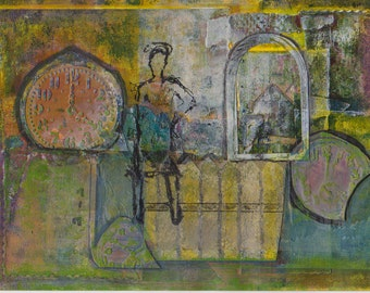 Time To Go: Mixed media painting and collage