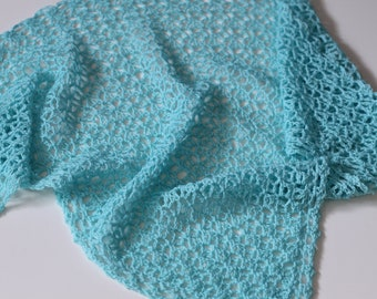 Wedding shawl/bridal shawl/winter wedding/wedding wrap crochet triangle lambswool wrap (robin egg blue)