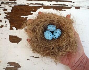"Bird Nest W/ Bird Eggs Home Decor, Ceramic Bird Eggs in a natural Bird Nest, 5"" x 4.5"", New Mom Gift, Fertily Symbol."