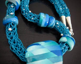 WEAVE. Blues and White with Silver Accent. Polymer Clay Art Bead. Spool Or Viking Knit Cord. Interchangeable Necklace.